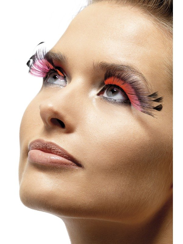 Eyelashes   Pink with Feathers