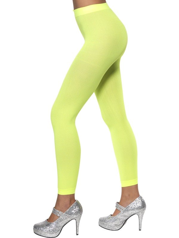 Womens  Neon Green Footless Tights