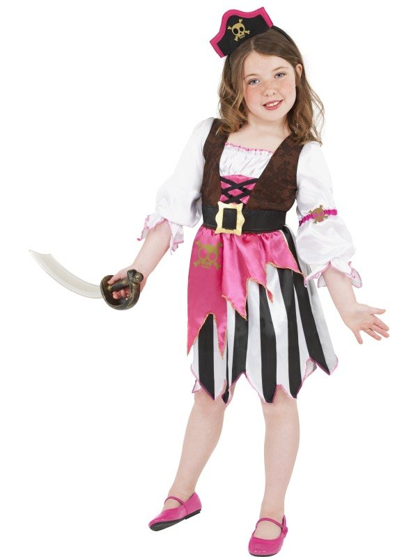 Pink Pirate Girl Fancy Dress Costume