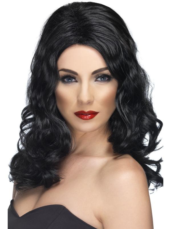 Glamorous Fancy Dress Wig Black