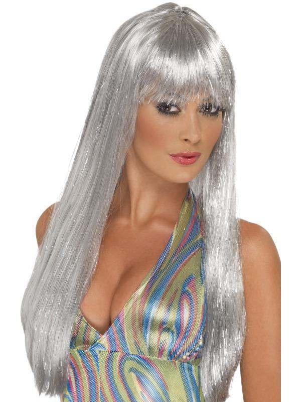 Glitter Disco Wig Silver