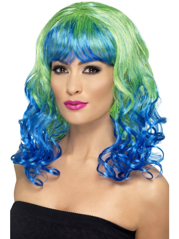 Divatastic Wig, Curly Green and Blue
