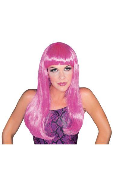 Glamour Fancy Dress Wig Hot Pink