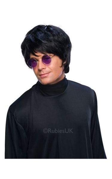 Adult Pop Star 80s Black Men's Wig Short Boy Band Fancy Dress Costume Accessory
