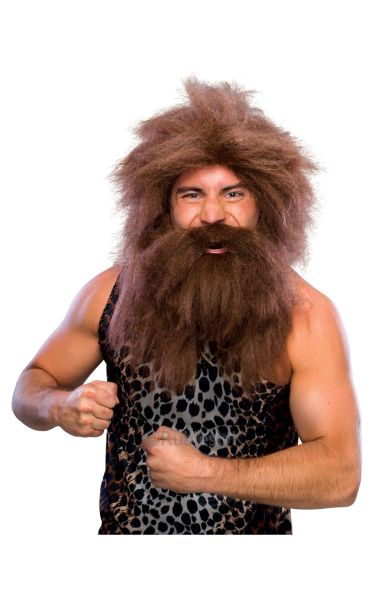 Prehistoric Fancy Dress Wig and Beard Brown