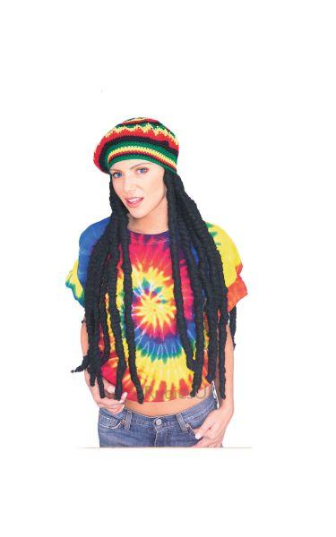 Rasta Fancy Dress Wig with Cap