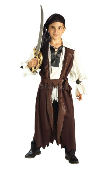 Boys Caribbean Pirate Fancy Dress Costume