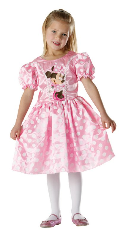 Girls Pink Disney Minnie Mouse Classic Fancy Dress Costume Large Age 7 to 8