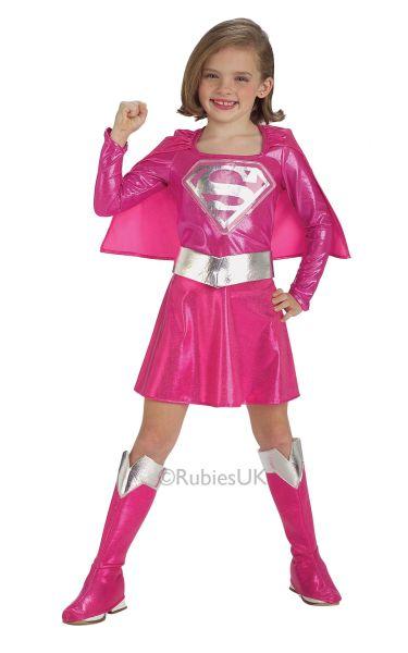 Girls Pink Supergirl Fancy Dress Costume