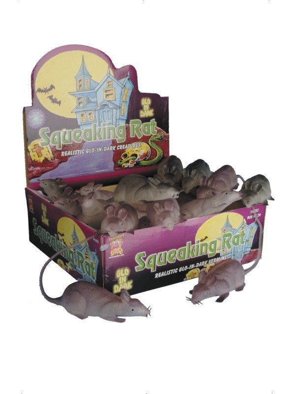 Glow in the Dark Squeaking Rat