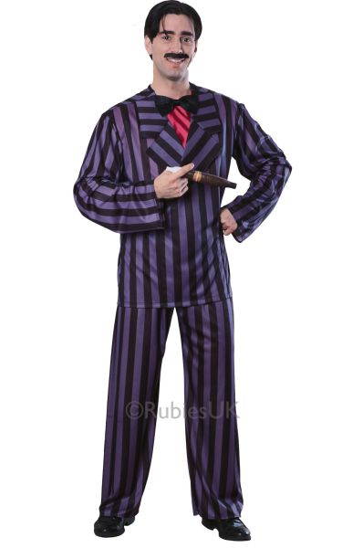 Licensed Addams Family Gomes Mens Halloween Horror Fancy Dress Costume Outfit Thumbnail 1