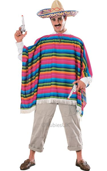 Mexican Serape and Sombrero Fancy Dress Hat Fancy Dress Costume Thumbnail 1
