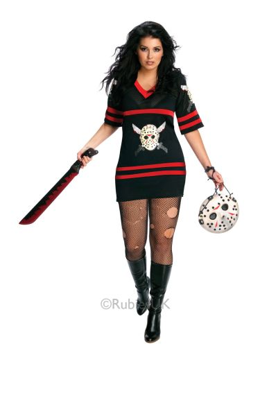 Adult Sexy 13th Miss Jason Voorhees Ladies Halloween Horror Fancy Dress Costume  Thumbnail 1