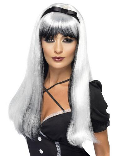 Bewitching Fancy Dress Wig Silver and Black Thumbnail 1