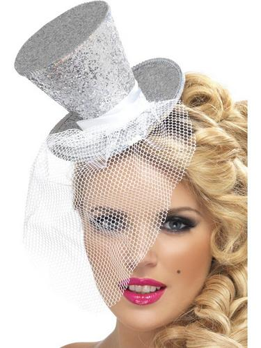 Silver Mini Top Fancy Dress Hat Thumbnail 1