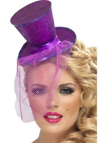 Mini Top Fancy Dress Hat on Headband, Purple Thumbnail 1