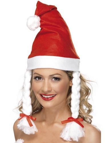 Santa Fancy Dress Hat with Plaits Thumbnail 1