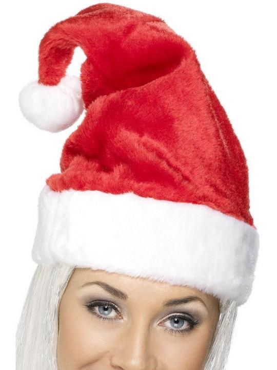 Luxury Santa Fancy Dress Hat with fur and pom pom Thumbnail 1