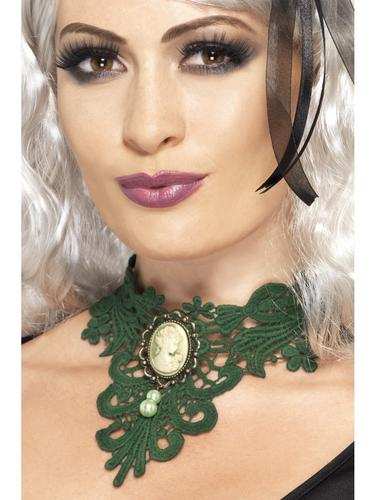 Femme Fatale Gothic Lace Choker Green Thumbnail 1
