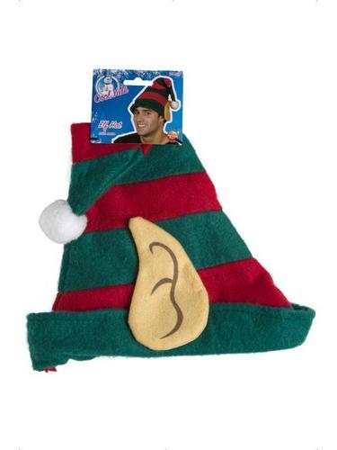 Striped Elf Fancy Dress Hat Thumbnail 2