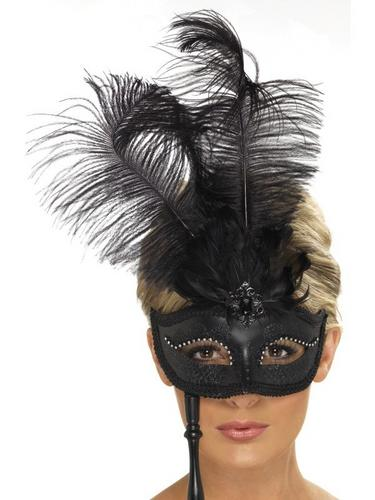 Black Baroque Fantasy EyeFancy Dress Mask Thumbnail 1