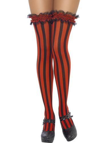 Thigh High Red and Black Striped stockings  Thumbnail 1