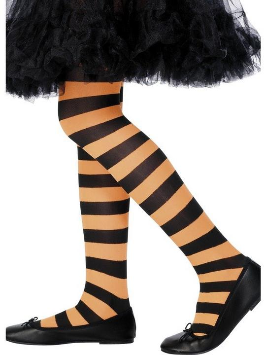 Childs Stripy Tights Orange and Black Thumbnail 1