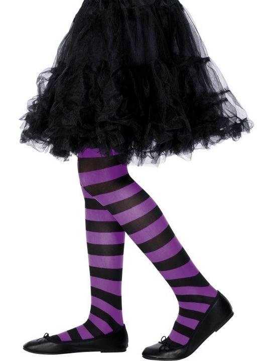Childs Stripy Tights Purple and Black Thumbnail 1