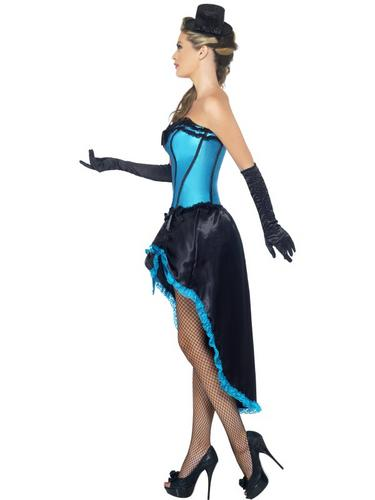 Burlesque Dancer Costume Blue Thumbnail 3