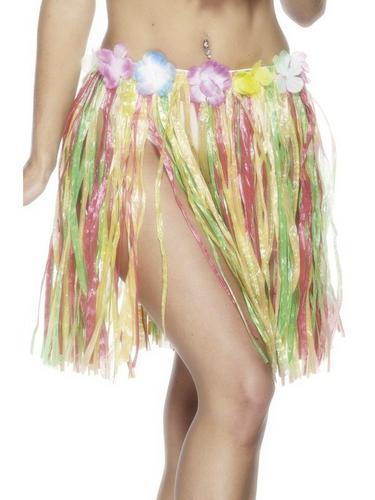 MultiColoured Hula Skirt with Flower 46CM Thumbnail 1