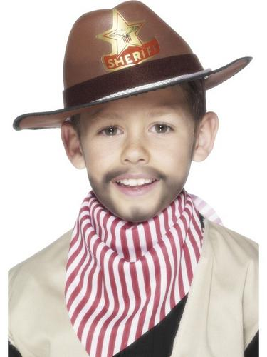 Childrens Brown Cowboy Fancy Dress Hat Brown Thumbnail 1
