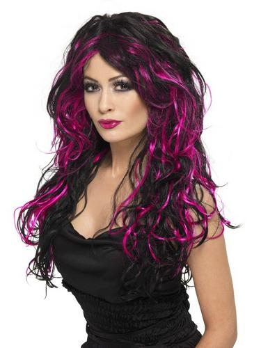 Gothic Bride Fancy Dress Wig Black and Pink Thumbnail 1