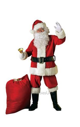 Deluxe Velour Santa Suit Fancy Dress Costume Thumbnail 1