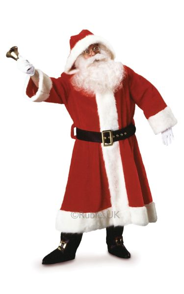 Plush Old Time Santa Suit with Hood Thumbnail 1