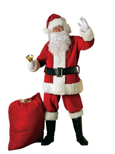 Extra Deluxe Velour Santa Suit Fancy Dress Costume Thumbnail 1