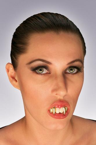 Vampire Teeth With Double Gold Fangs Thumbnail 1