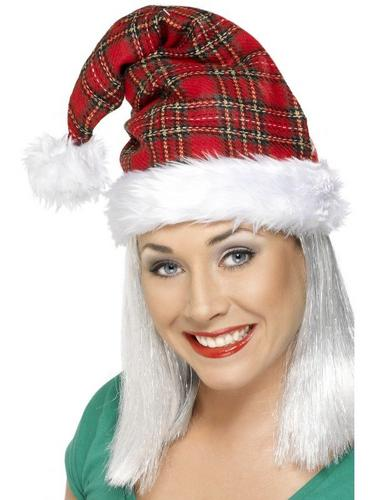 Santa Fancy Dress Hat Tartan Thumbnail 1