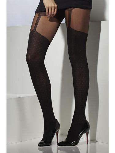 Womens Black Tights With Suspender Print Thumbnail 1