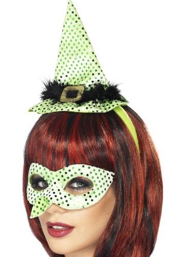 Wicked Venetian Eye Mask with Witches Nose and Mini Hat on a Headband Neon Green Thumbnail 1