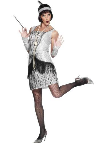Flapper Fancy Dress Costume Silver Thumbnail 1