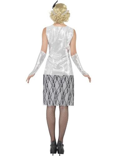 Flapper Fancy Dress Costume Silver Thumbnail 2