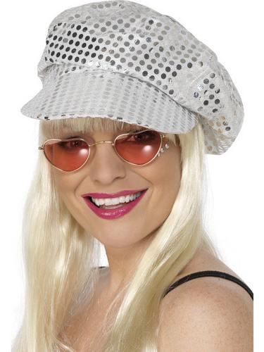Disco Fancy Dress Hat Silver Sequin Thumbnail 1
