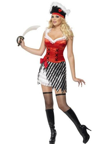 Ladies Pirate Fancy Dress Costume with Fancy Dress Hat Thumbnail 1