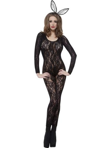 Body Stocking Black Lace Fancy Dress Costume Thumbnail 1