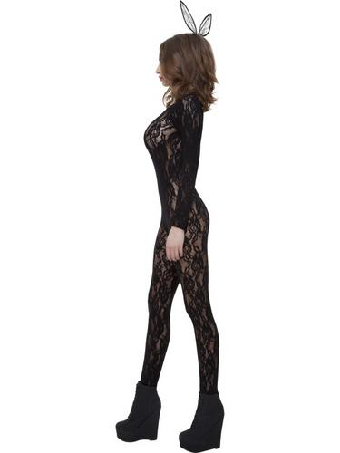 Body Stocking Black Lace Fancy Dress Costume Thumbnail 3