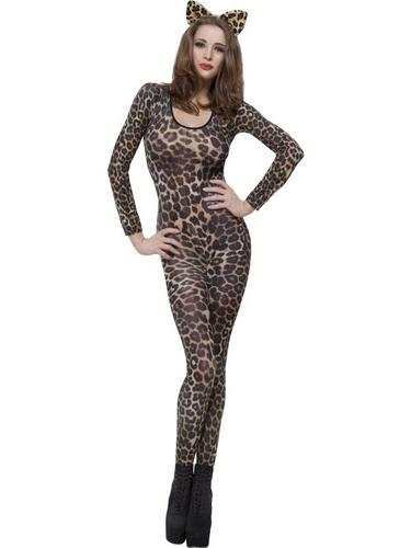 Cheetah Print Brown Bodysuit Fancy Dress Costume Thumbnail 1