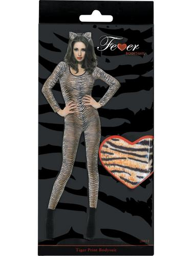 Tiger Print Bodysuit Fancy Dress Costume Thumbnail 3