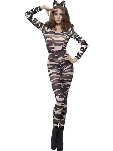 Camoflage Bodysuit Fancy Dress Costume Thumbnail 1