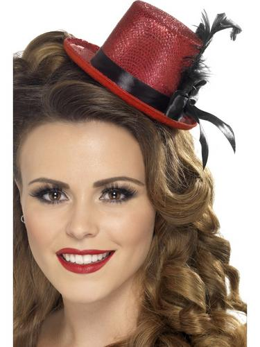 Mini Tophat, Red with Black Ribbon and Feather Thumbnail 1
