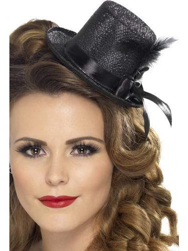 Mini Tophat, Black with Ribbon and Feather Thumbnail 1